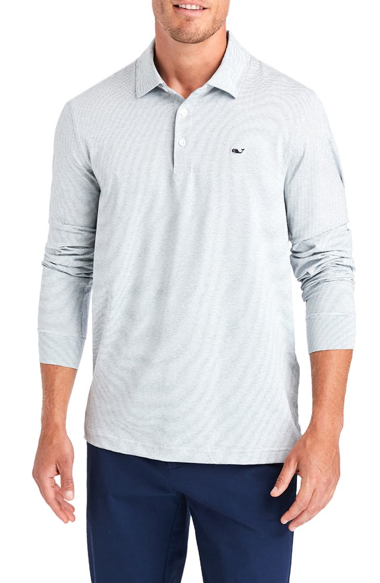 VINEYARD VINES Destin Stripe Long Sleeve Polo, Main, color, WHITE CAP