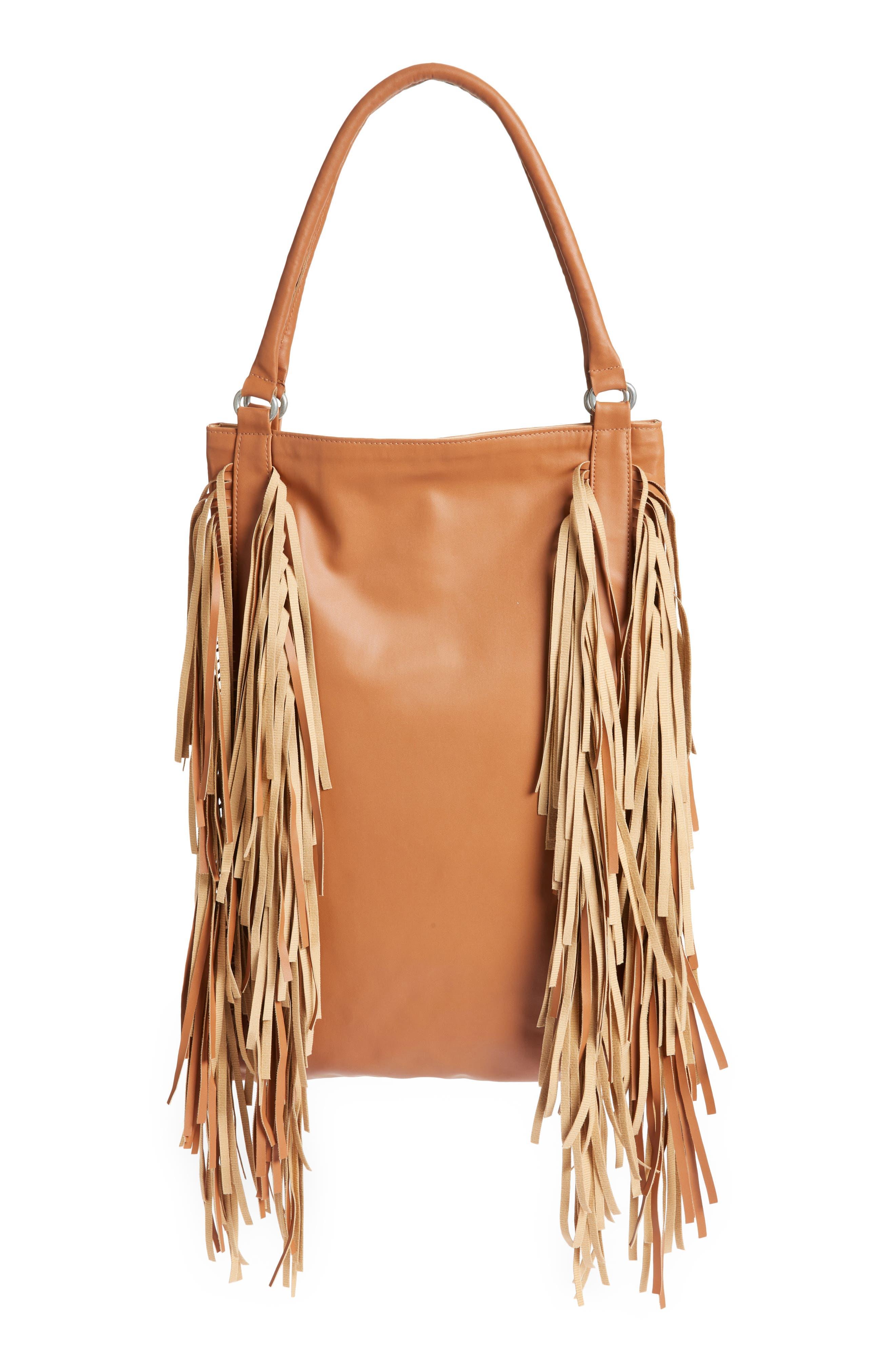 Fringe Faux Leather Hobo Bag