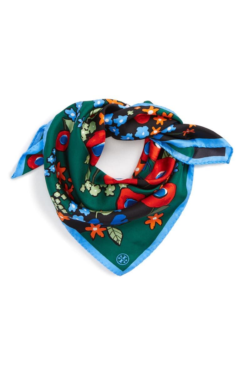 TORY BURCH Darling Floral Silk Neckerchief, Main, color, 300