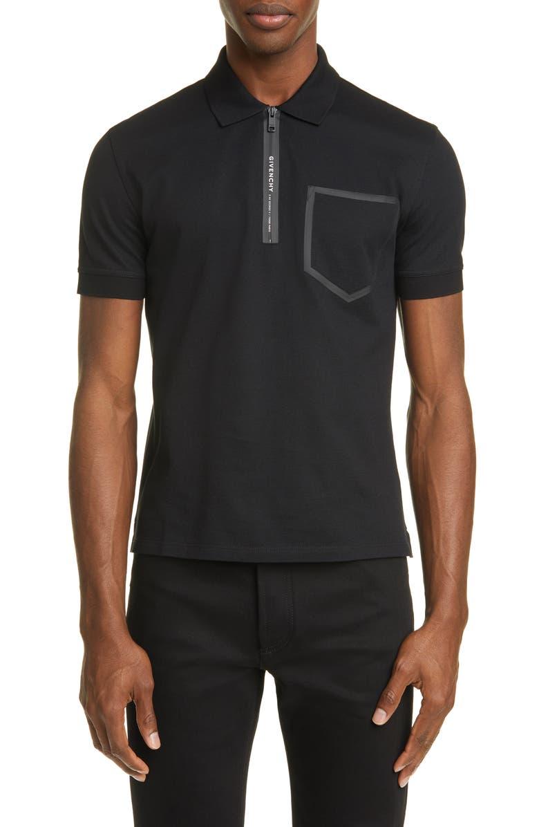 GIVENCHY Address Slim Fit Black Short Sleeve Zip Polo, Main, color, BLACK
