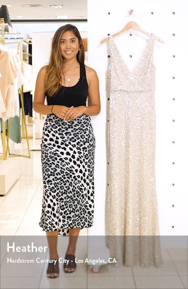 Billie Sequin Metallic Trumpet Gown, sales video thumbnail