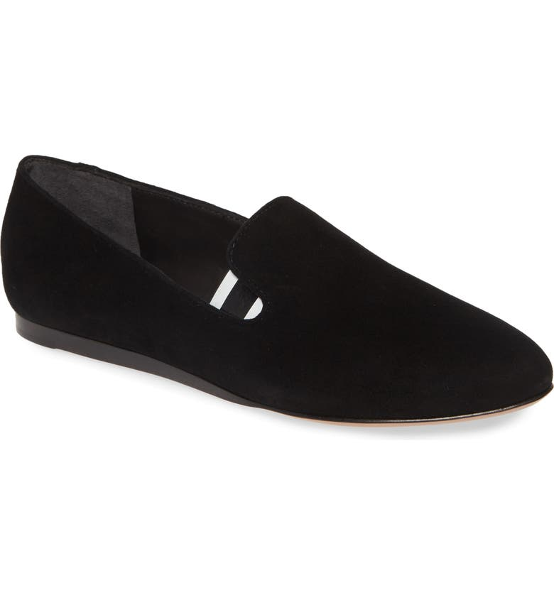 VERONICA BEARD Griffin Pointy Toe Loafer, Main, color, BLACK/ WHITE STRIPE
