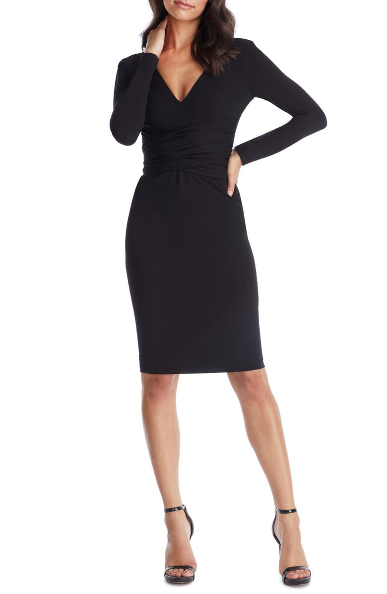 DRESS THE POPULATION Drew Long Sleeve Body-Con Dress, Main, color, BLACK