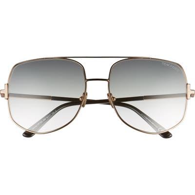 Tom Ford Lennox 62mm Oversize Aviator Sunglasses - Rose Gold/ Grey