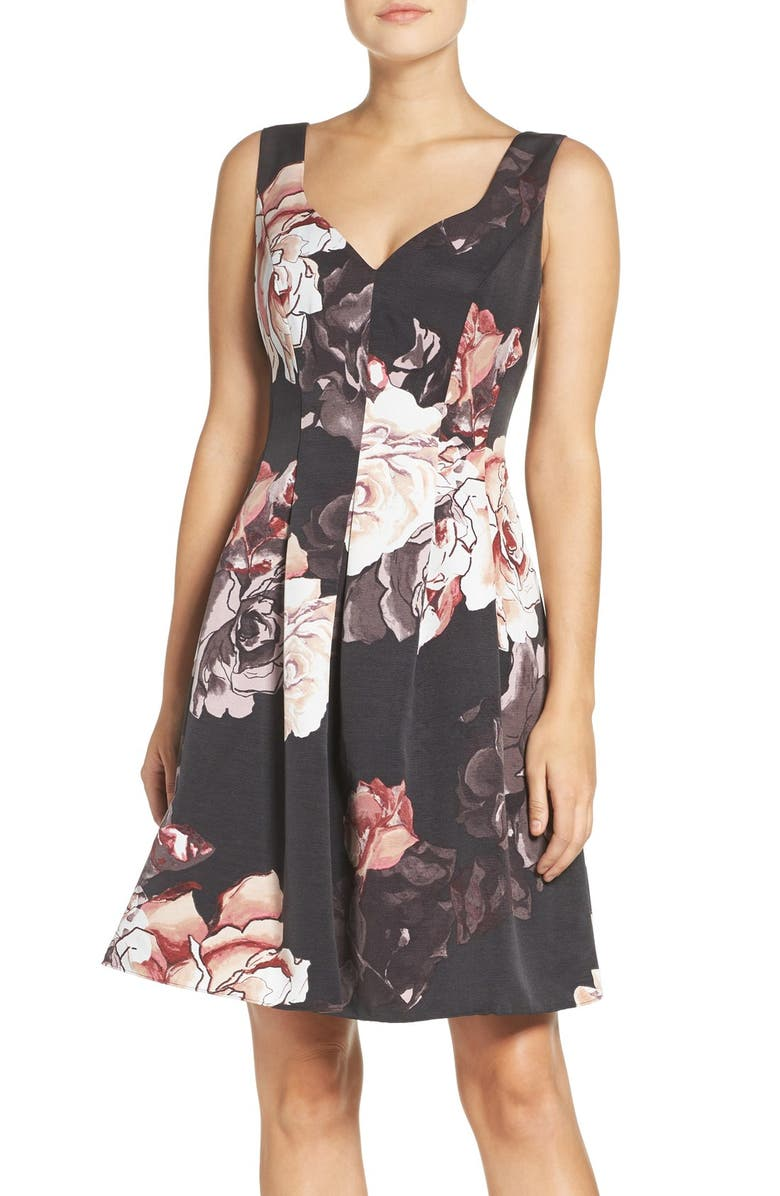 ADRIANNA PAPELL Floral Print Faille Fit & Flare Dress, Main, color, 652