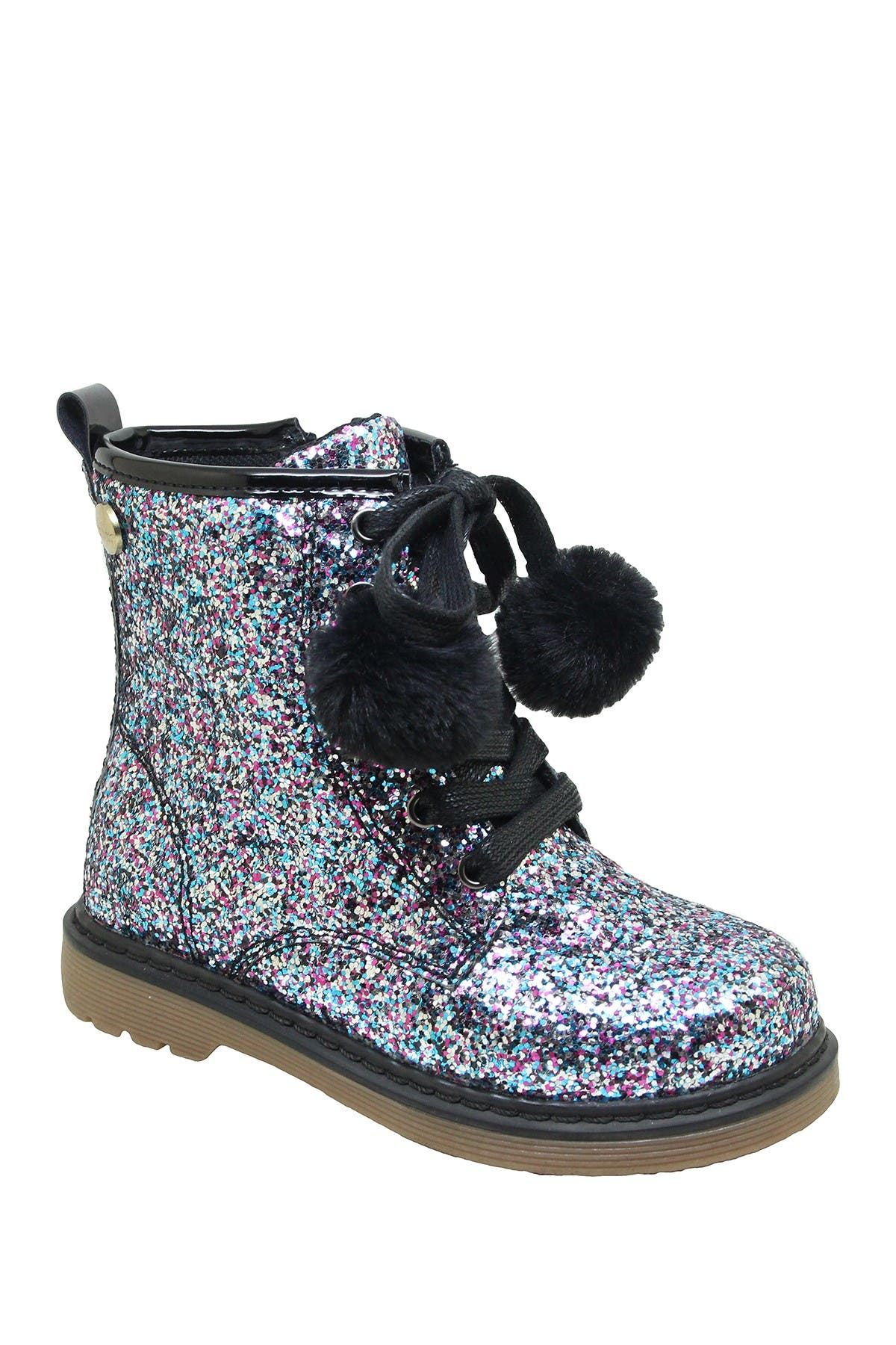 Image of Nicole Miller Glitter Pompom Lace-Up Boot