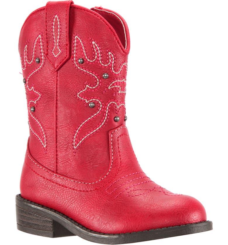 NINA Mirabele Cowboy Boot, Main, color, RED TUMBLED
