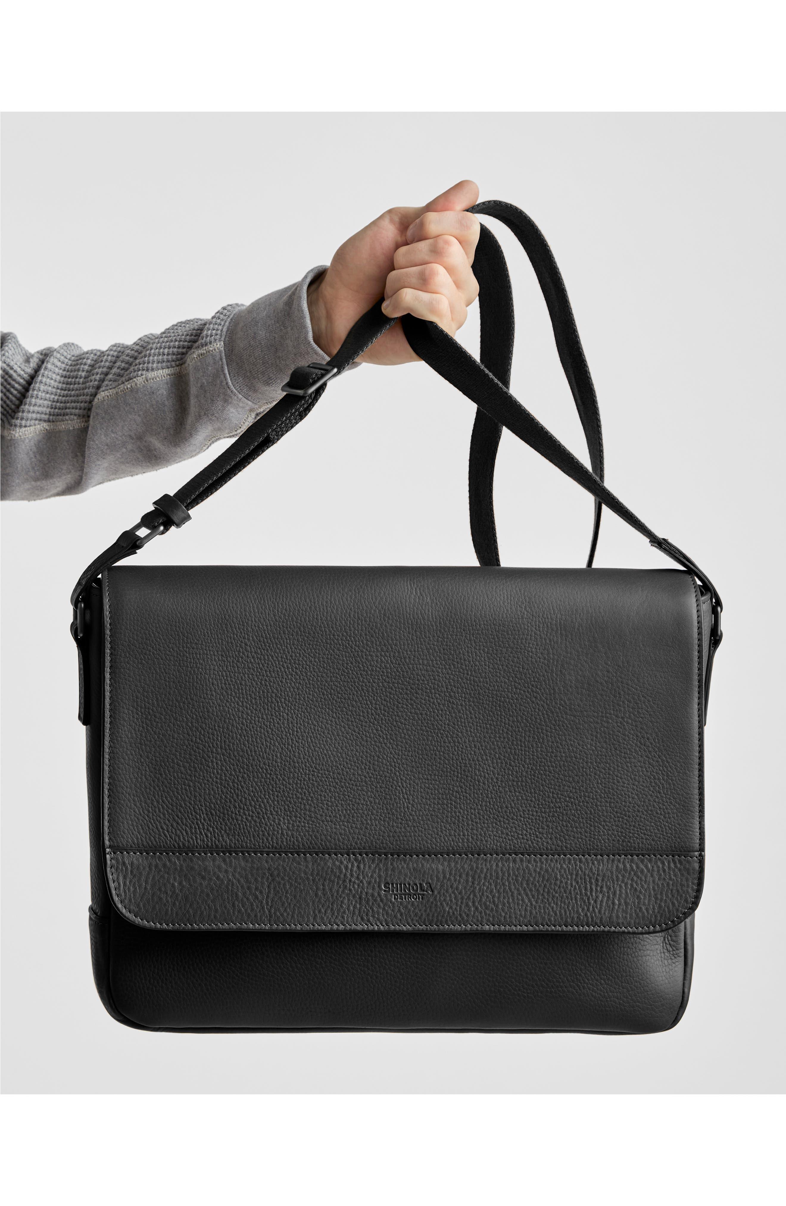 ,                             Slim Leather Messenger Bag,                             Alternate thumbnail 6, color,                             BLACK