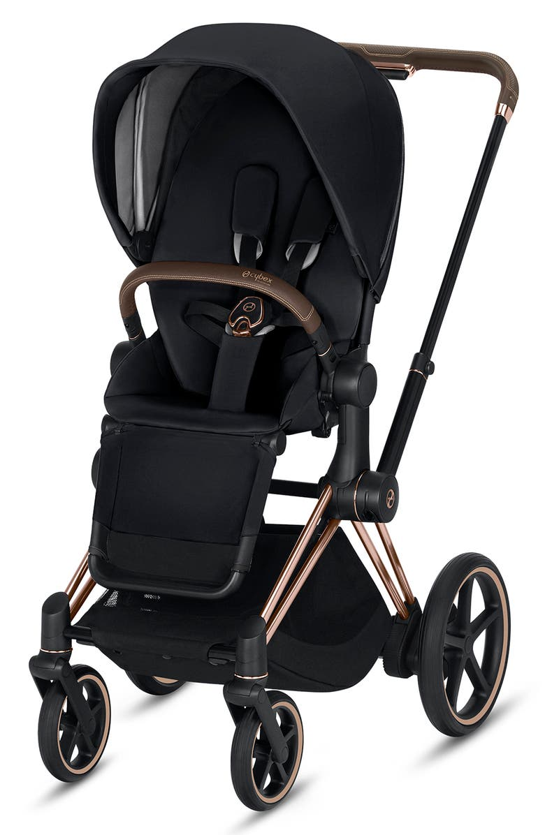 CYBEX e-Priam Rose Gold Electronic Stroller with All Terrain Wheels, Main, color, PREMIUM BLACK