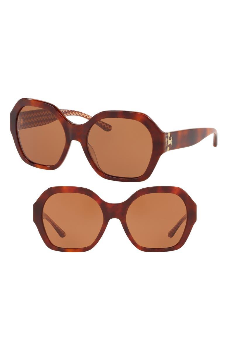 TORY BURCH Serif T Pattern 57mm Hexagon Sunglasses, Main, color, 200