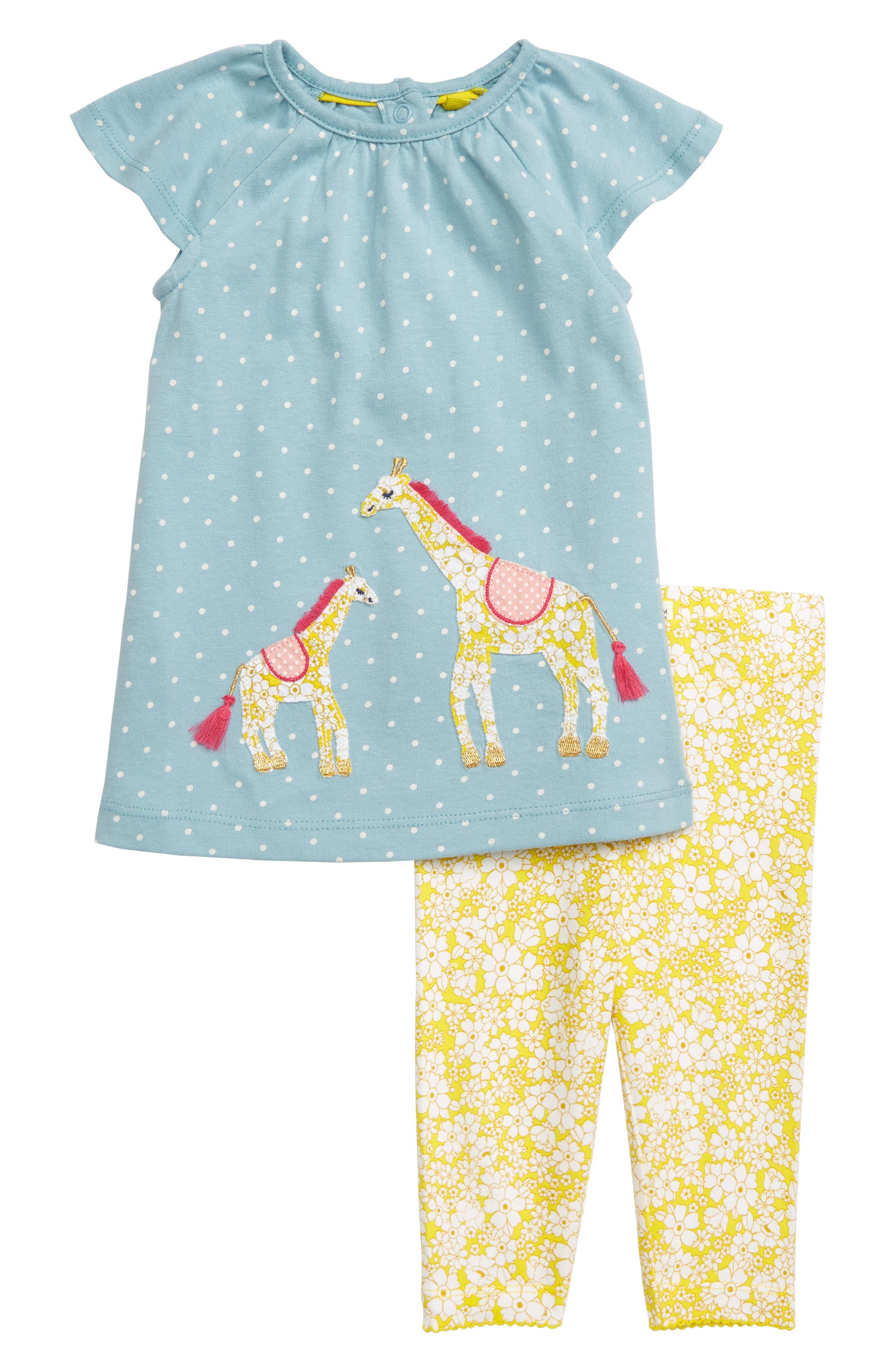 Toddler Girls Mini Boden Giraffe Applique Dress  Leggings Set (Baby  Toddler Girls)