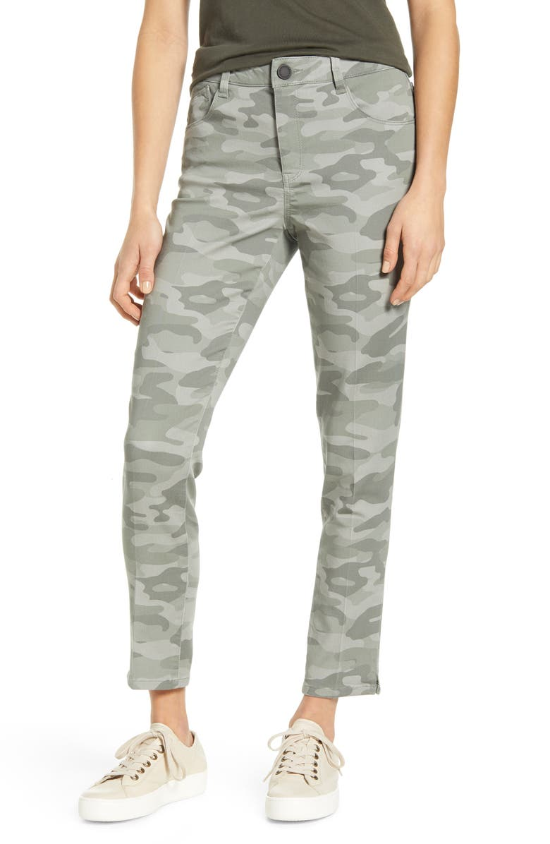 WIT & WISDOM Ab-Solution High Waist Camo Ankle Pants, Main, color, STORMY SEA