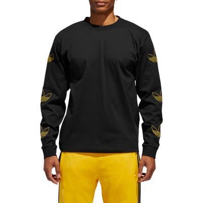 Adidas Originals Embroidered Trefoil Long Sleeve T-Shirt, Black