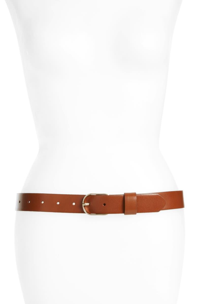 HALOGEN<SUP>®</SUP> Tailored Trouser Leather Belt, Main, color, COGNAC