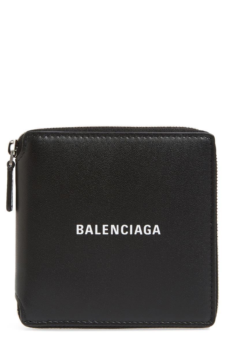 BALENCIAGA Zip-Around Square Leather Wallet, Main, color, BLACK/ WHITE