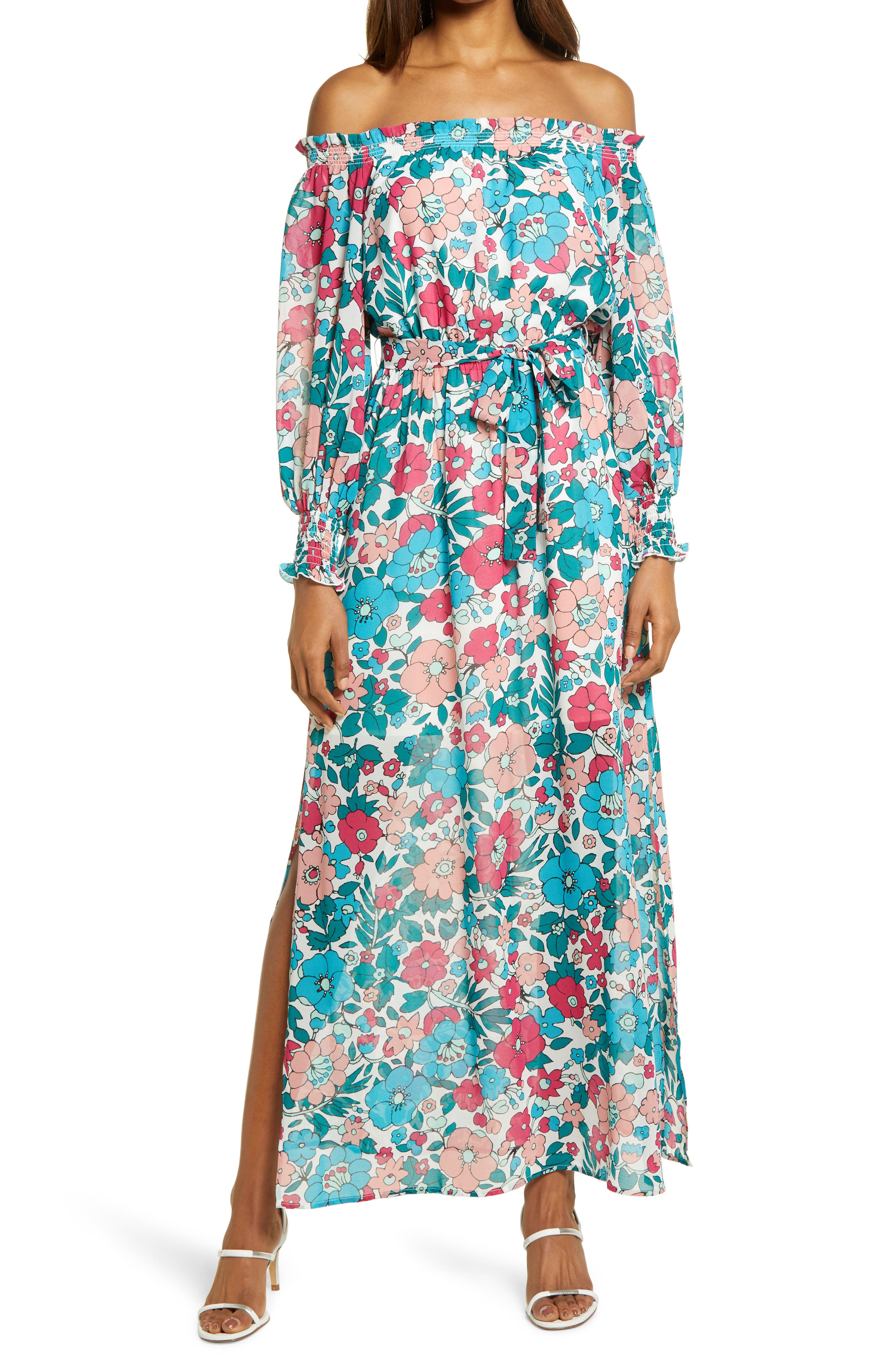 Floral Off The Shoulder Long Sleeve Maxi Dress