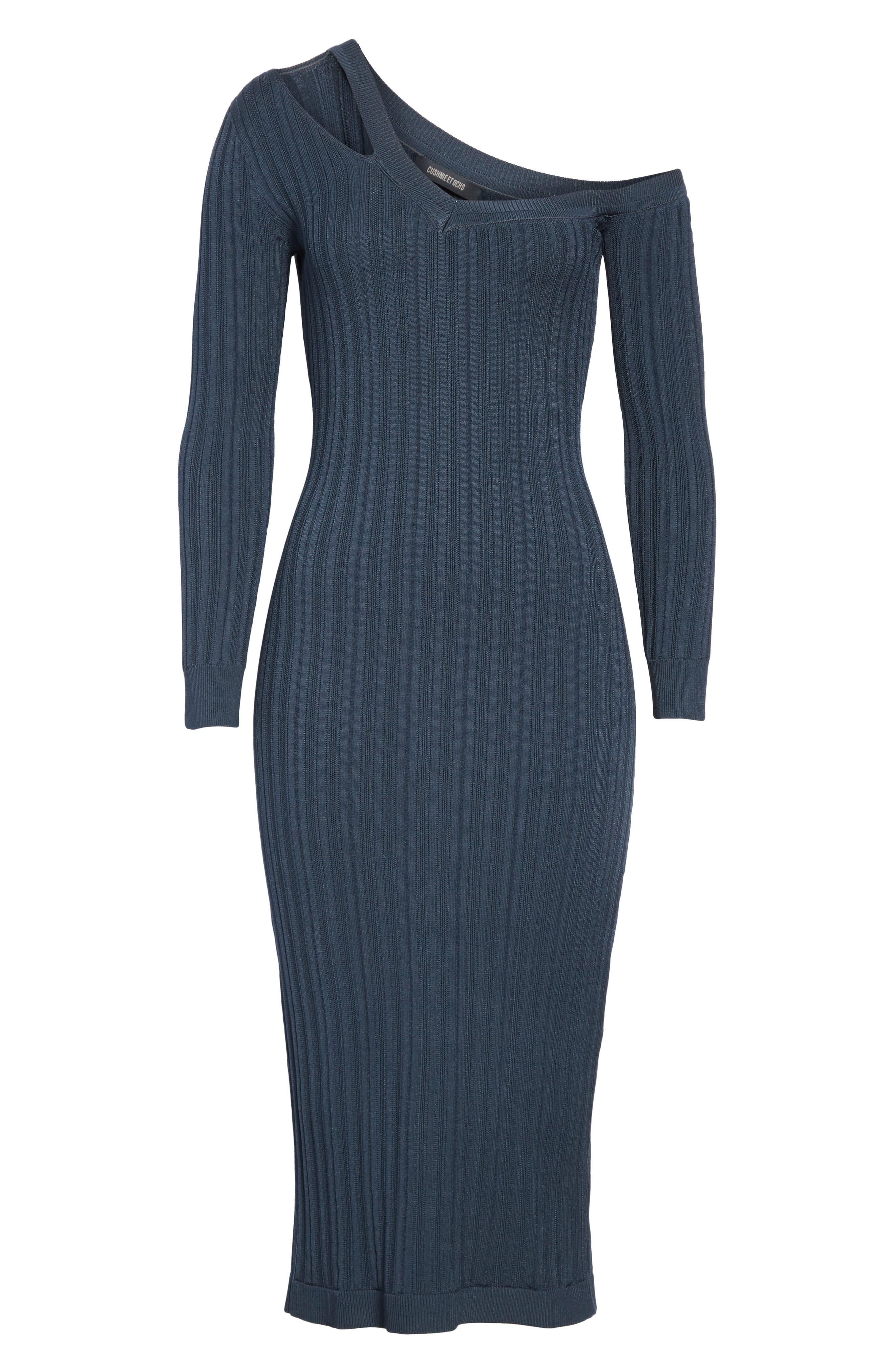 ,                             Knit Cutout Off the Shoulder Dress,                             Alternate thumbnail 7, color,                             NAVY