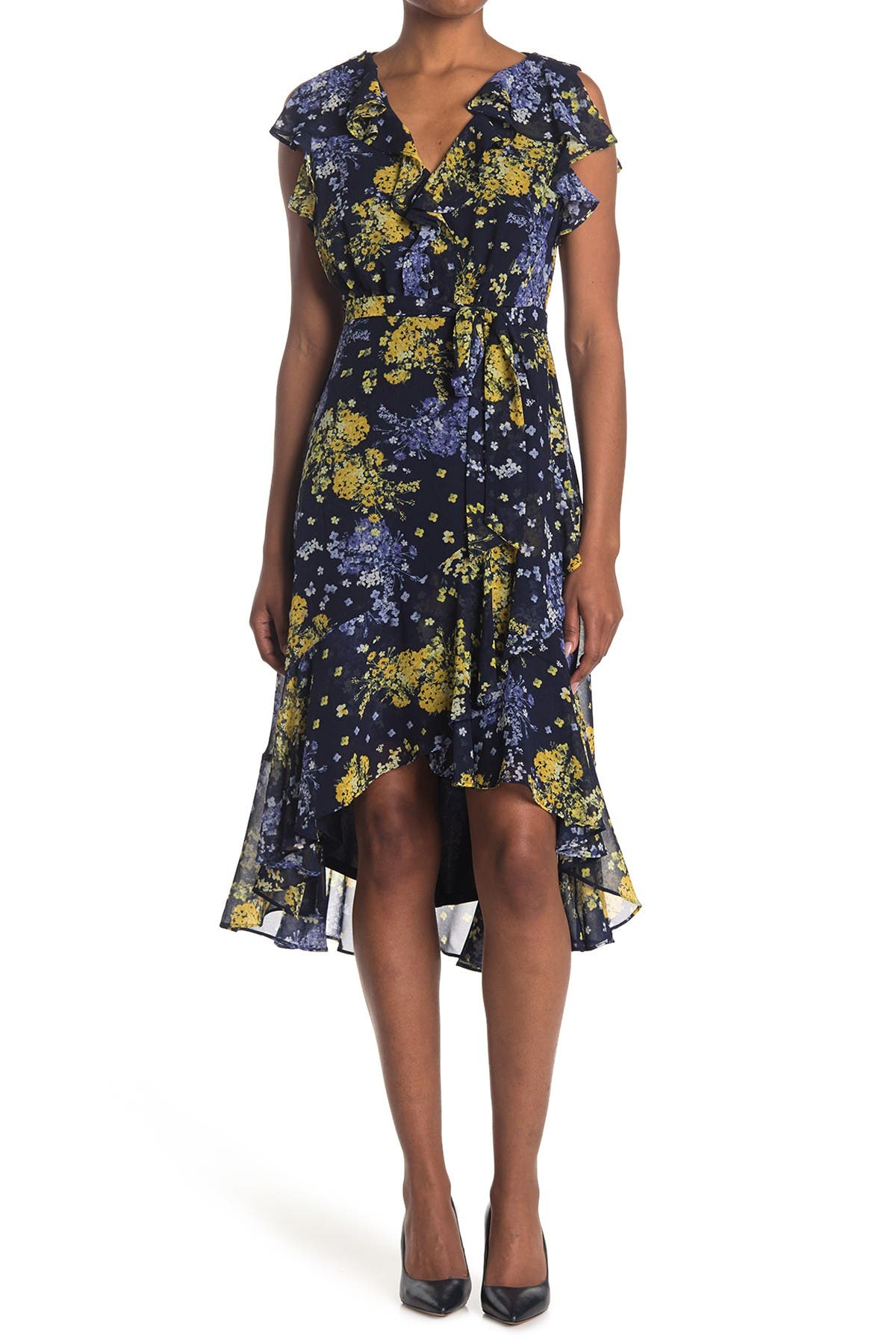 Image of Taylor Printed V-Neck Midi Dress