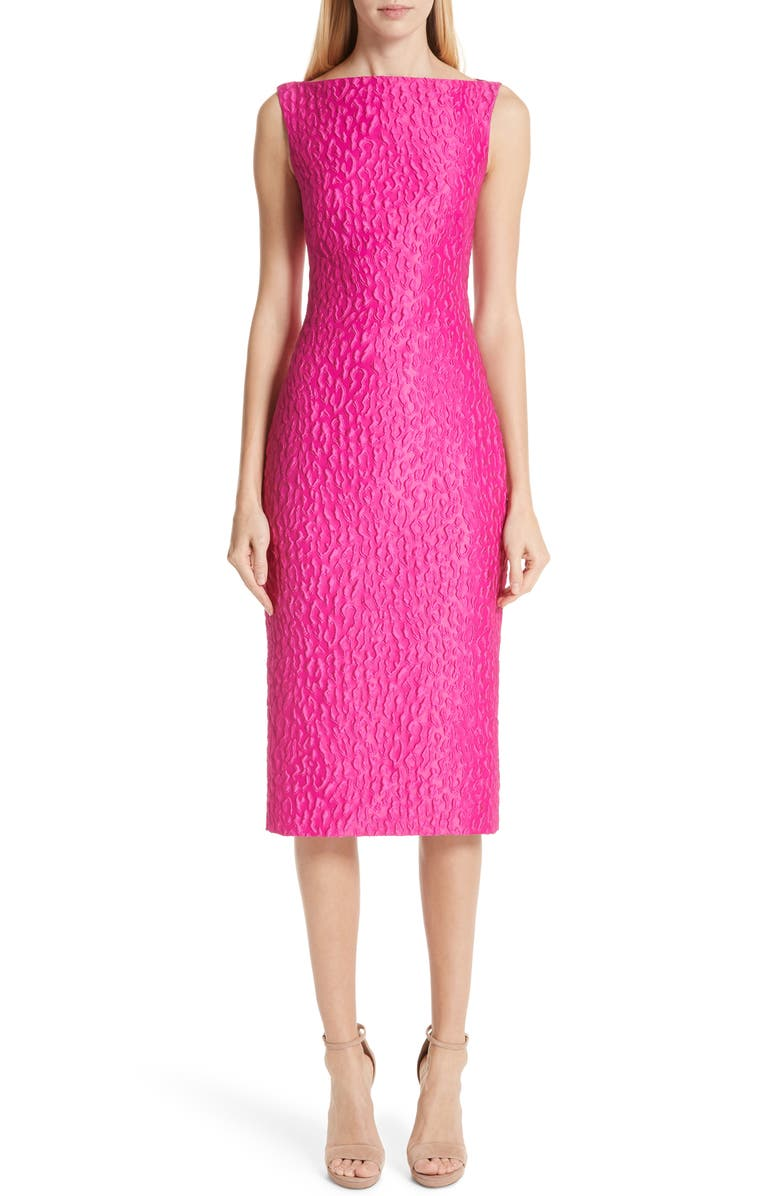 BRANDON MAXWELL Leopard Jacquard Cloqué Dress, Main, color, 650