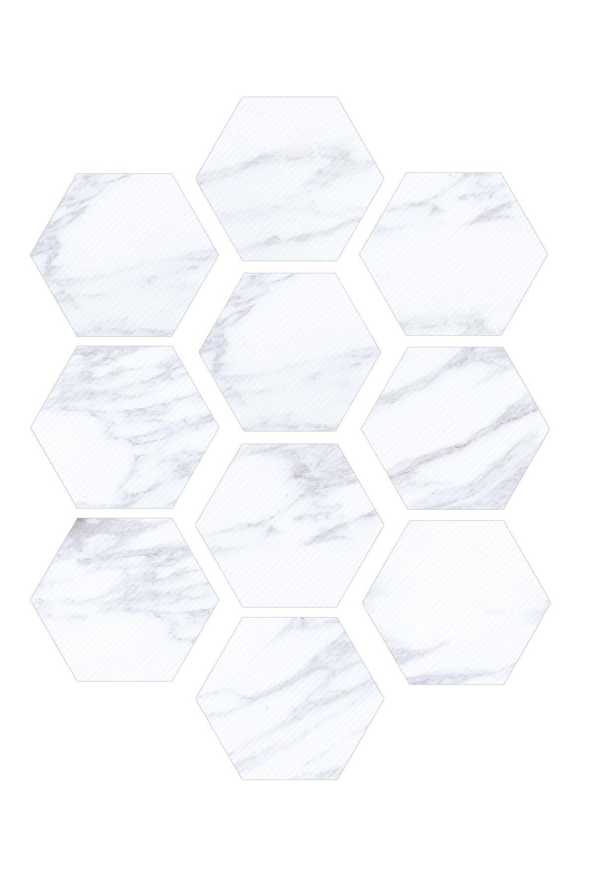 Image of WalPlus White Marble Hexagon Floor Tiles Stickers