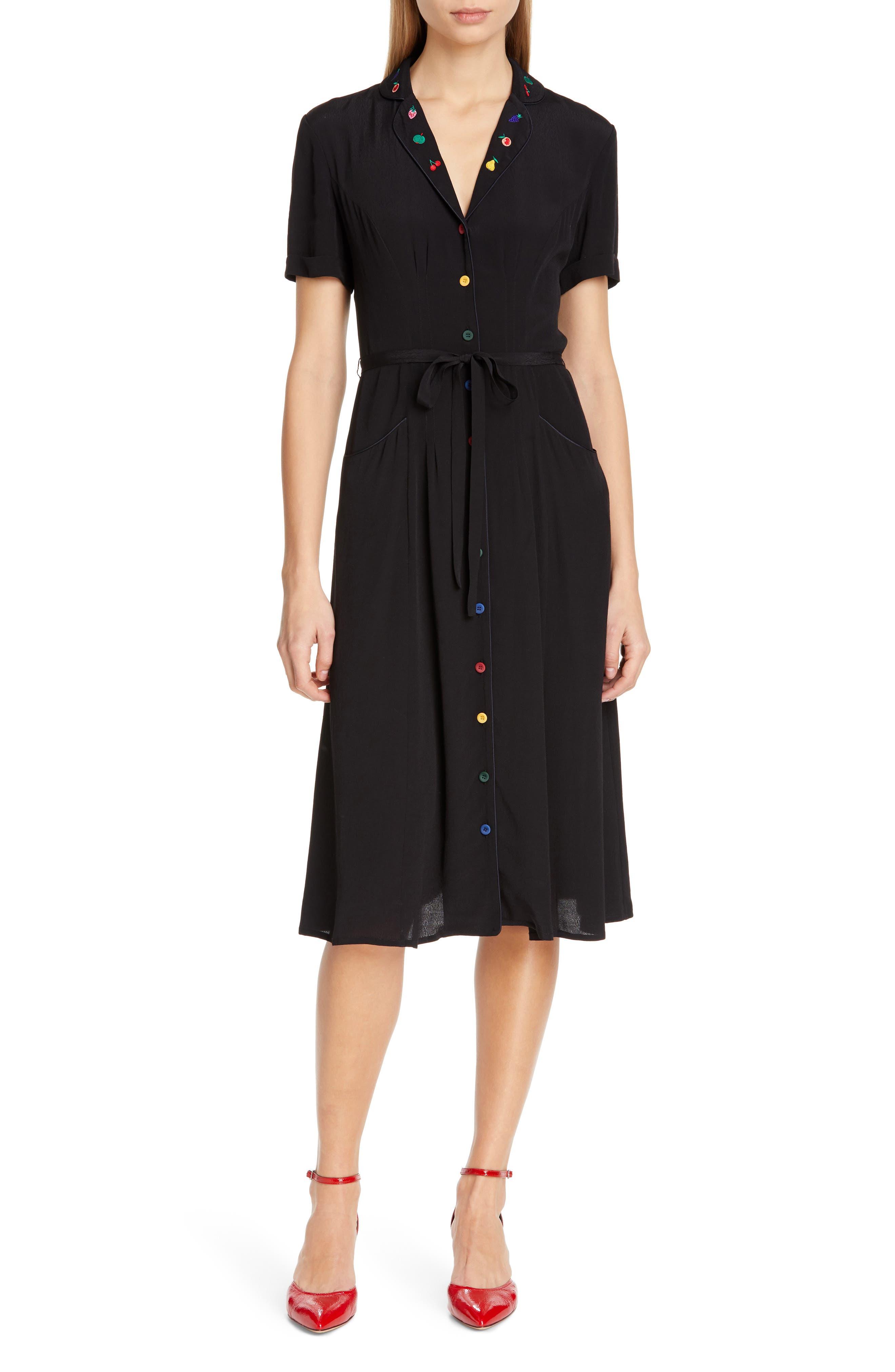 Hvn Maria Pajama Midi Dress, Black