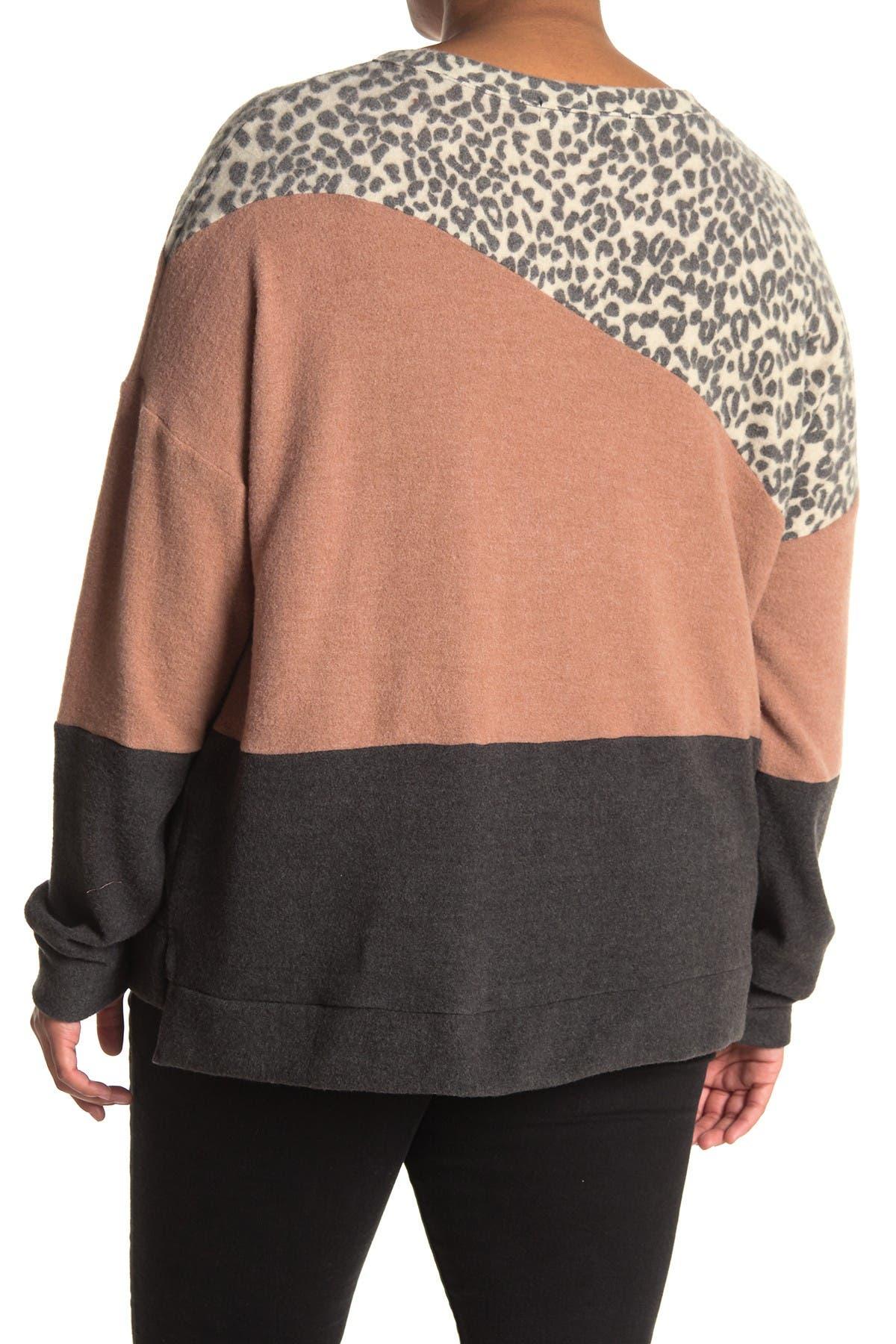 Image of SOCIALITE CURVE Colorblock Crew Neck Sweater