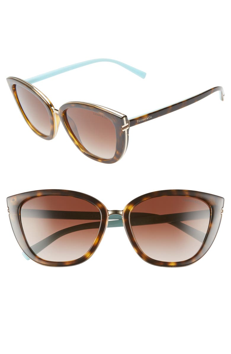 TIFFANY & CO. Tiffany-T 55mm Sunglasses, Main, color, BLACK/ HAVANA GRADIENT