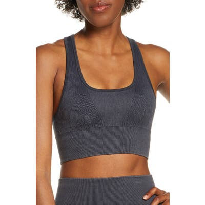 Soul By Soulcycle Miner Ribbed Seamless Longline Sports Bra, Black