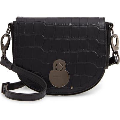 Longchamp Small Cavalcade Crocodile Embossed Leather Crossbody Bag - Black
