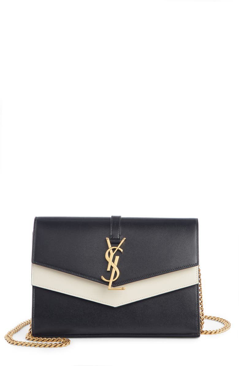 SAINT LAURENT Sulpice Colorblock Leather Shoulder Wallet, Main, color, NERO/ CREMA SOFT