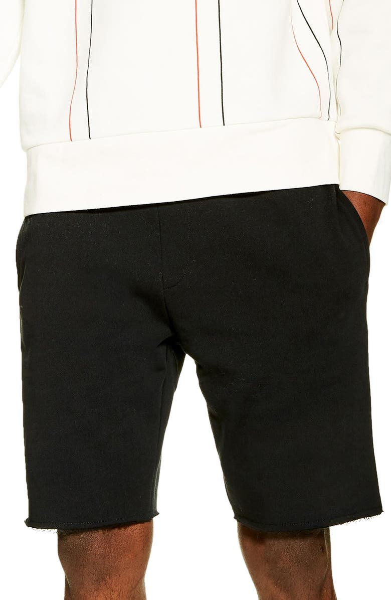 TOPMAN Ross Raw Hem Shorts, Main, color, 001