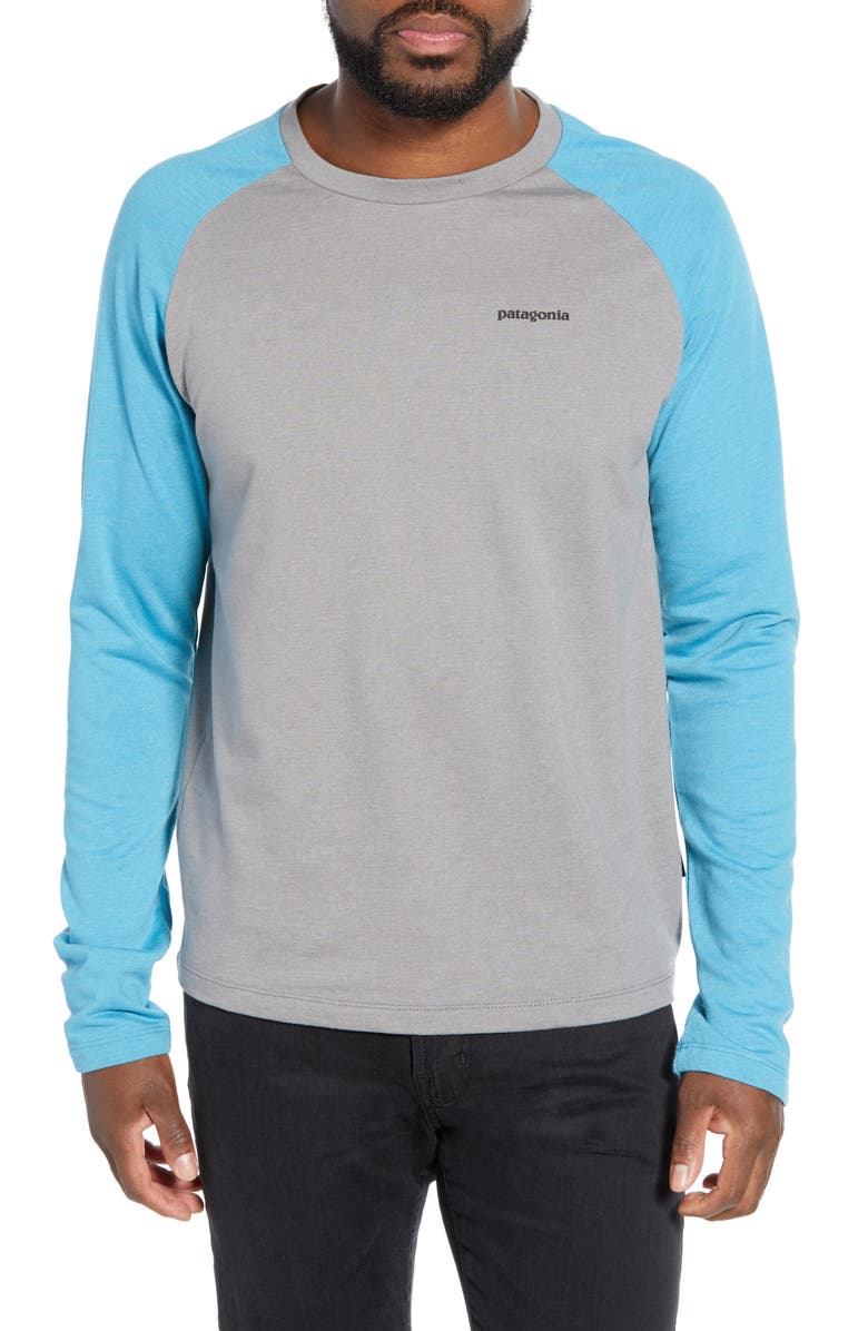 PATAGONIA P-6 Logo Regular Fit Lightweight Sweatshirt, Main, color, FEATHER GREY/ MAKO BLUE