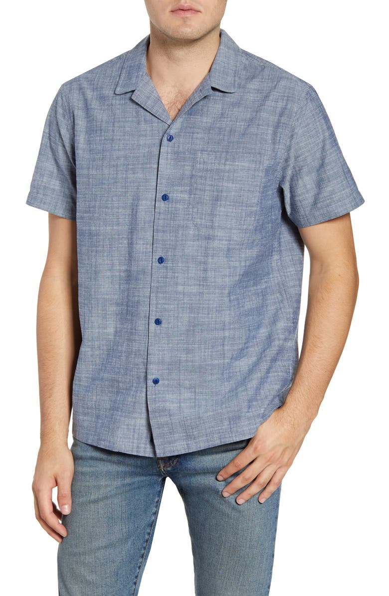 VINEYARD VINES Cabana Regular Fit Short Sleeve Chambray Button-Up Camp Shirt, Main, color, 435
