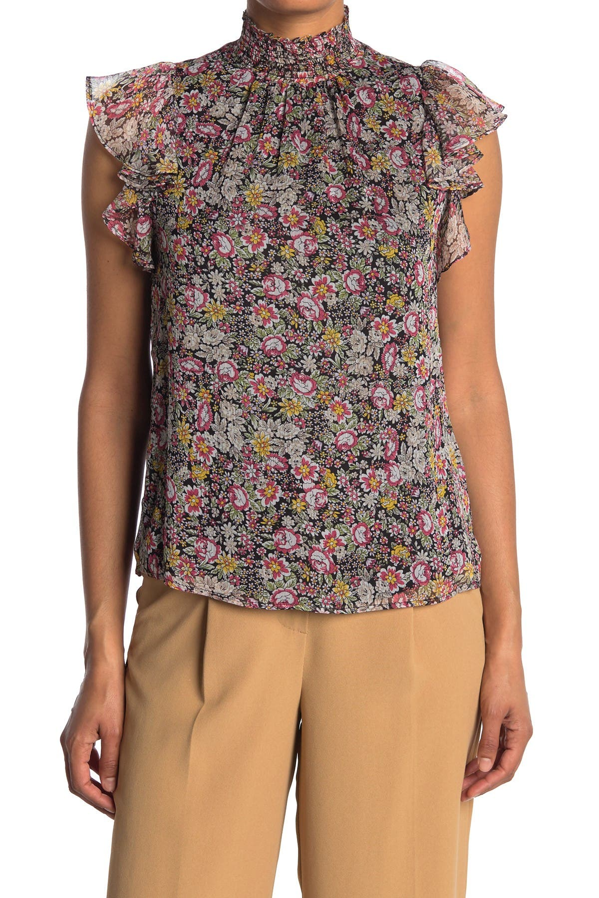 Image of 1.State Forest Gardens Smocked Neck Blouse