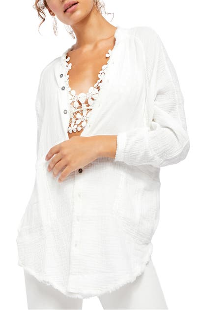 Free People Summer Daydream Button Shirt In White