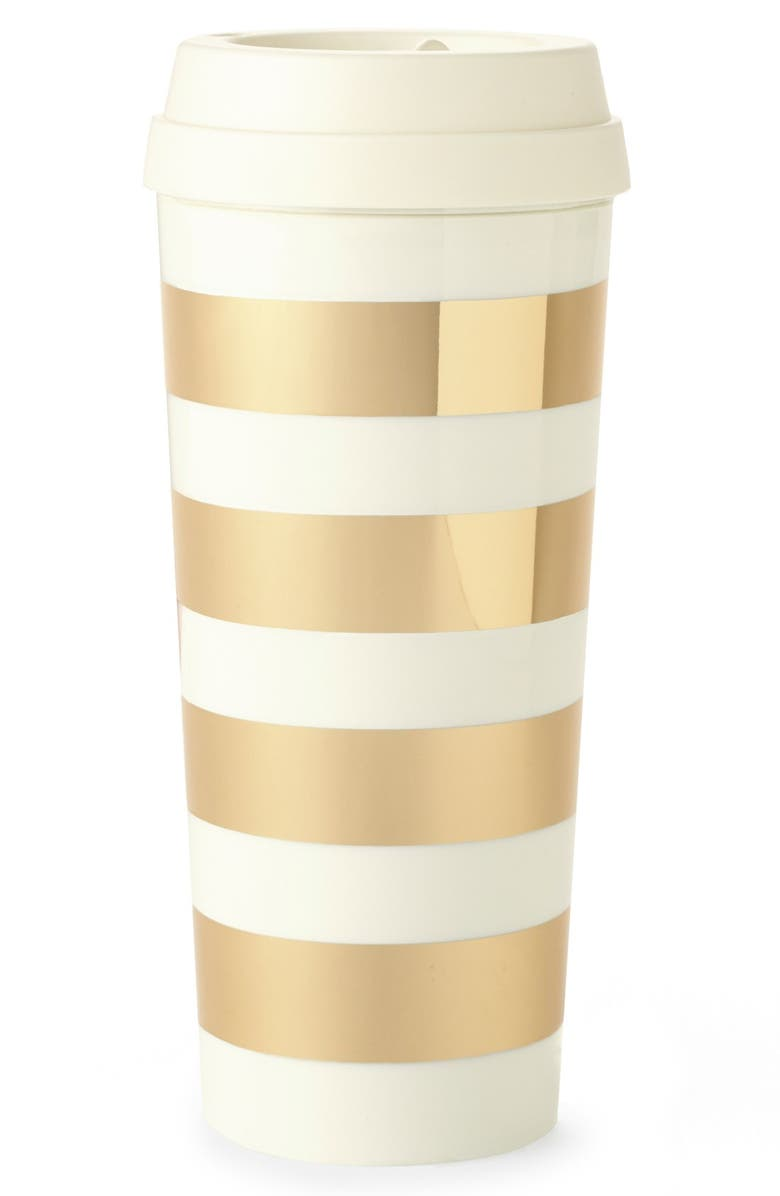 KATE SPADE NEW YORK gold stripe thermal mug, Main, color, 710