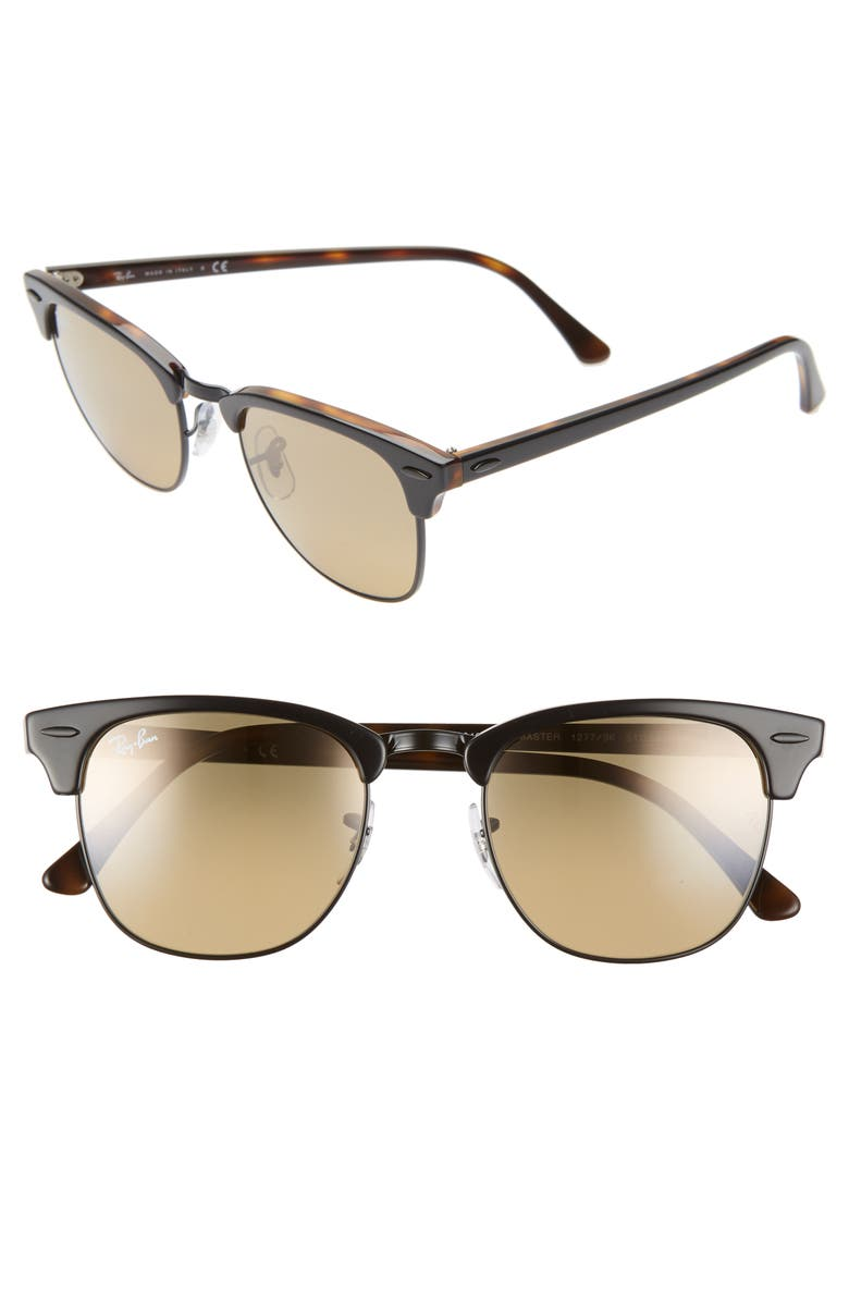 RAY-BAN Clubmaster 51mm Sunglasses, Main, color, GREY/ HAVANA/ BROWN