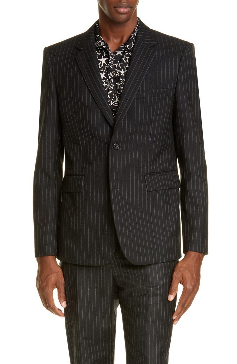SAINT LAURENT Classique Pinstripe Wool Jacket, Main, color, BLACK
