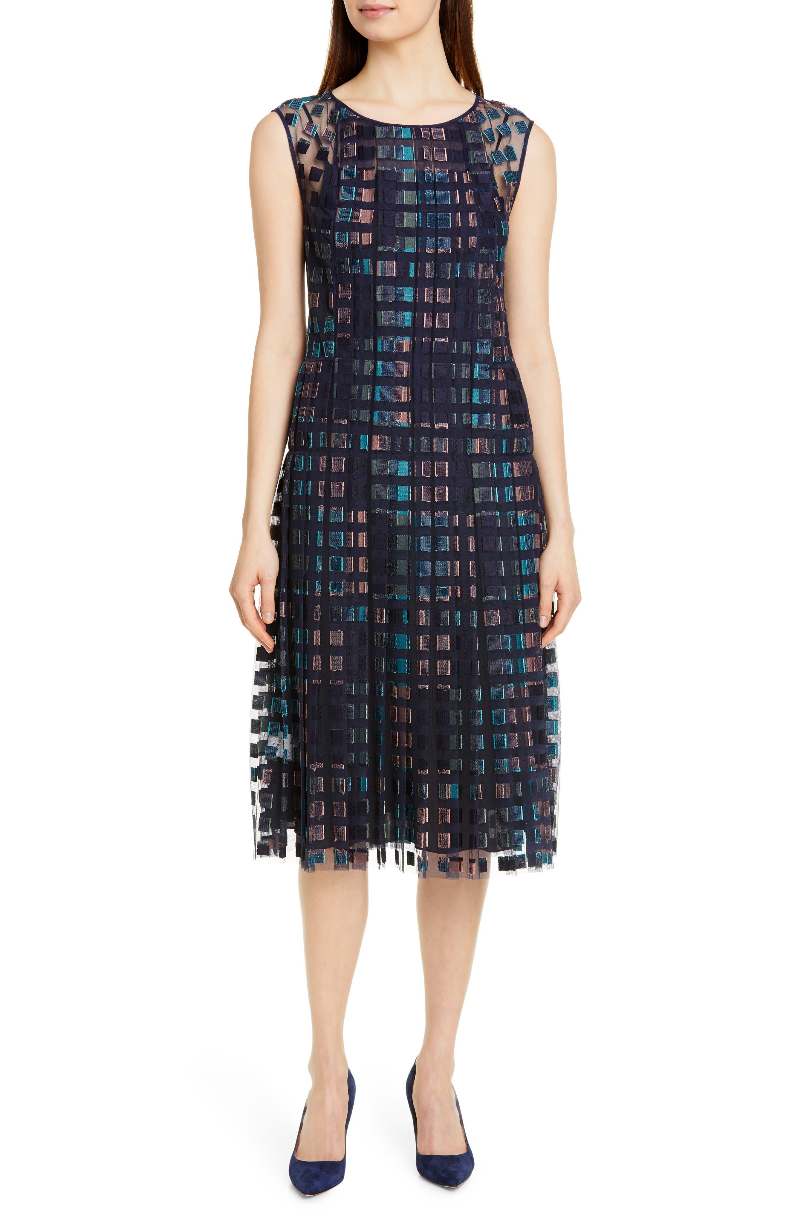 Boss Desqua Drop Waist Midi Dress, Blue