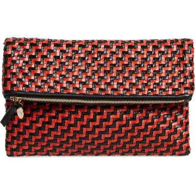 Clare V. Zip Leather Clutch - Red