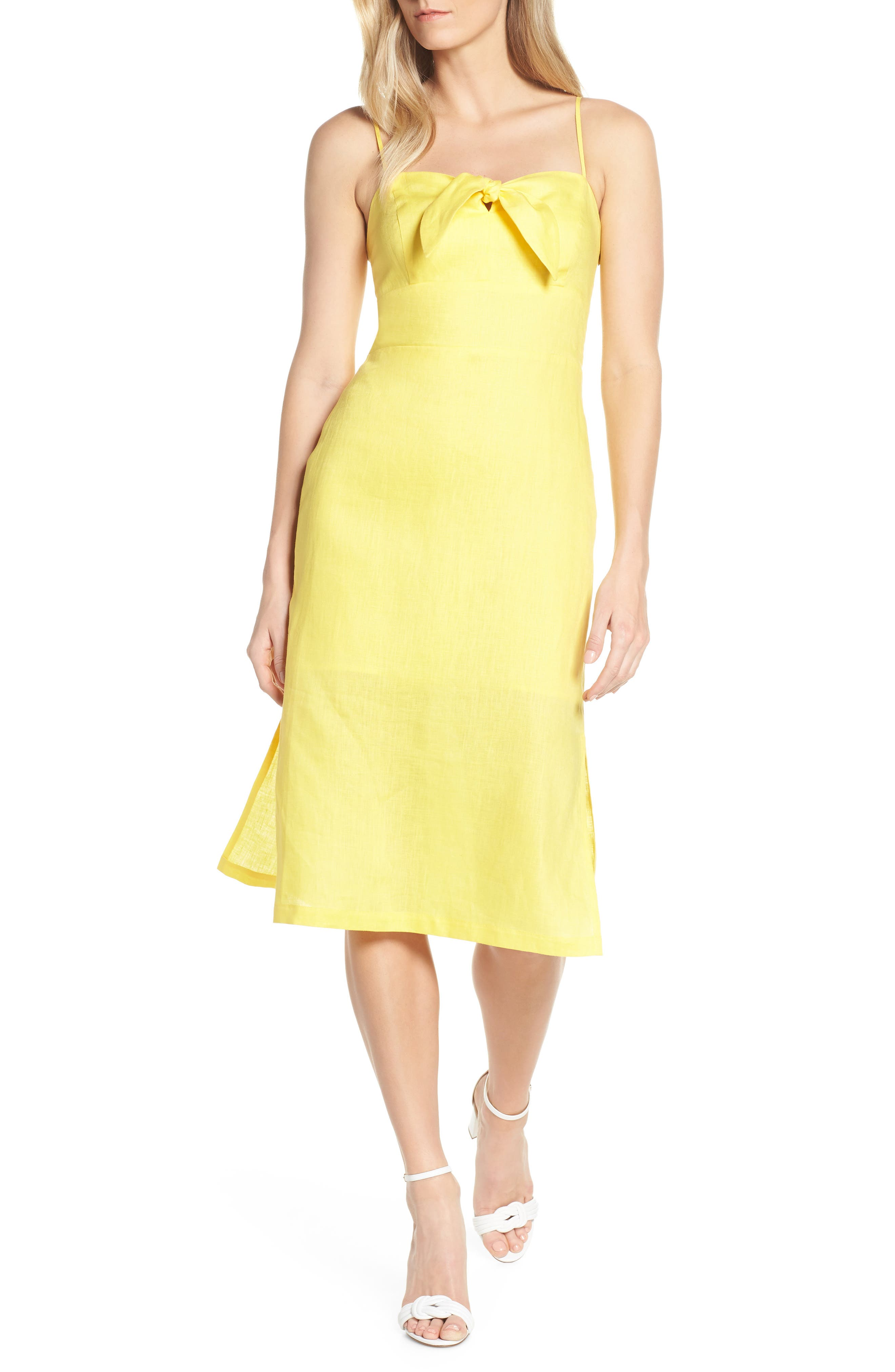 Forest Lily Bow Linen A-Line Dress, Yellow