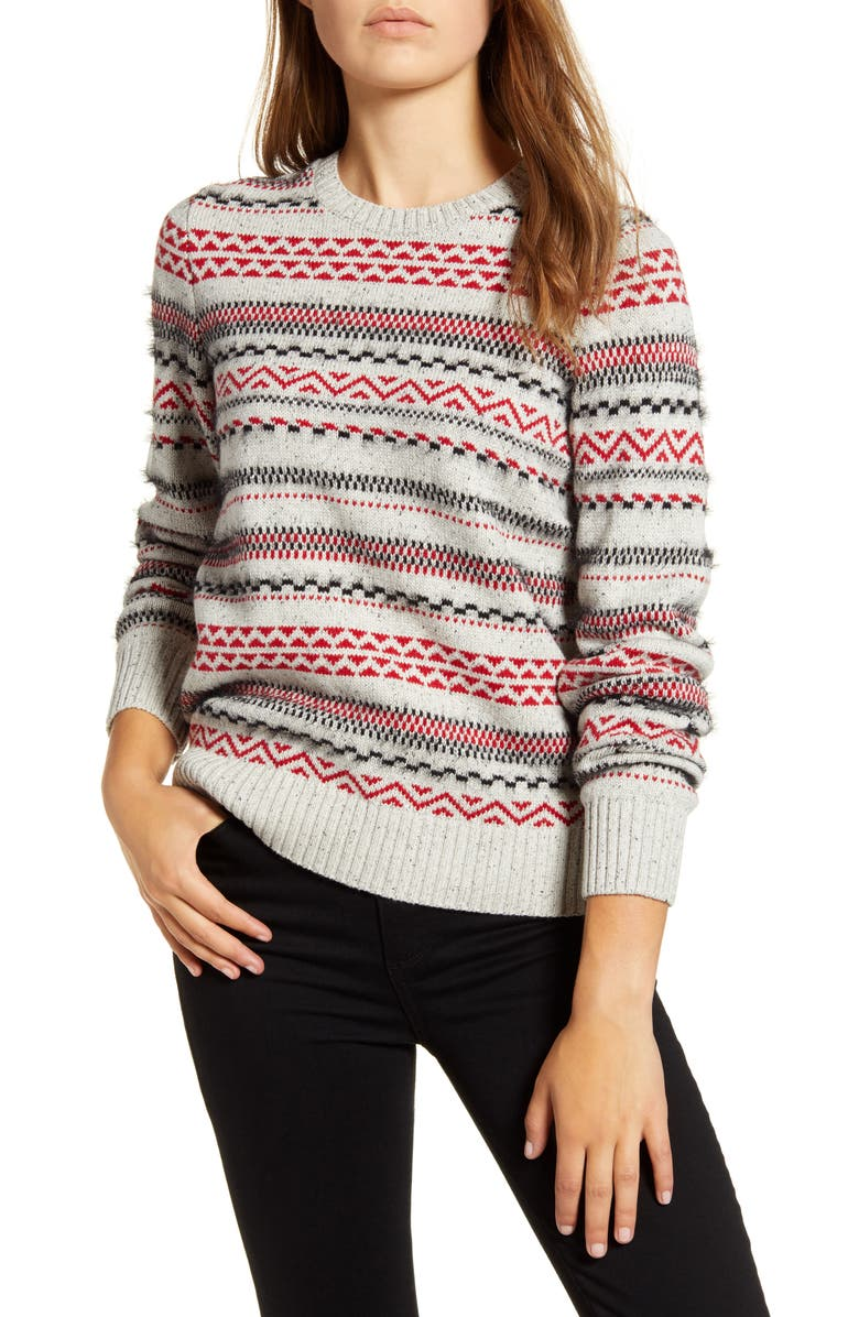 LUCKY BRAND Stripe Fair Isle Cotton & Wool Blend Sweater, Main, color, 030