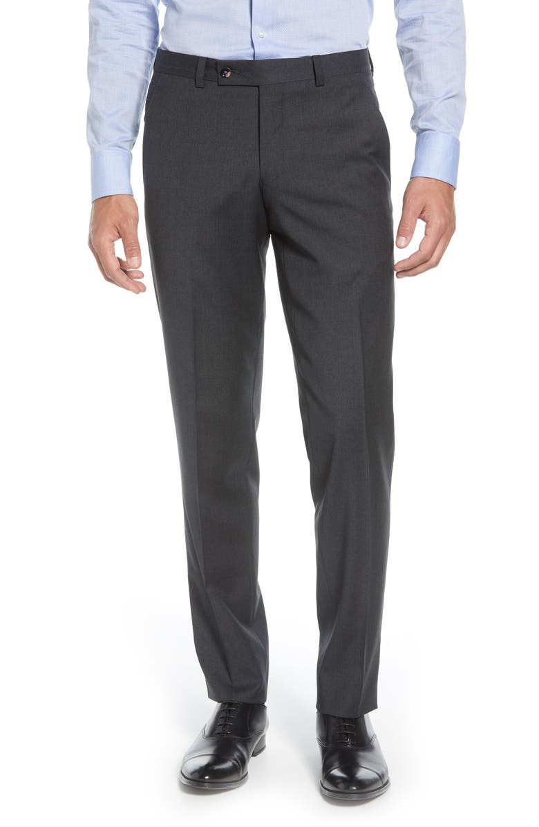 TED BAKER LONDON Jerome Flat Front Solid Wool Dress Pants, Main, color, BLUE