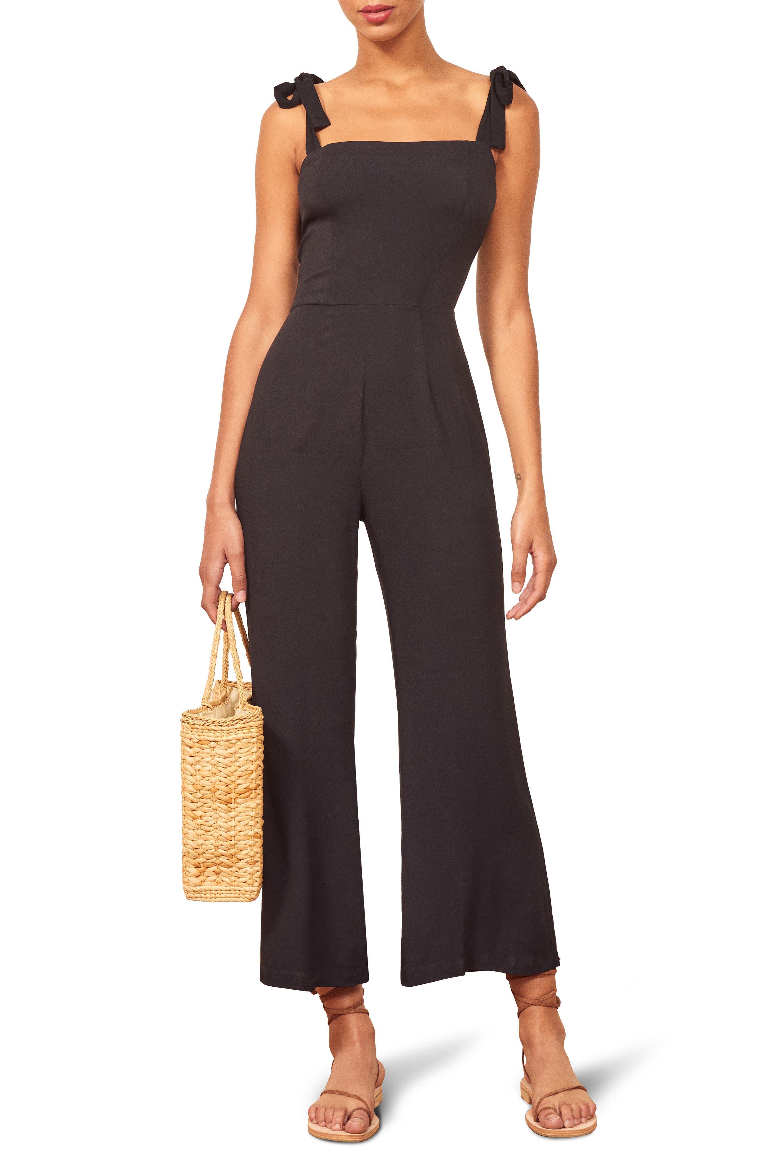 Reformation Fay Sleeveless Tie Shoulder Jumpsuit, Black