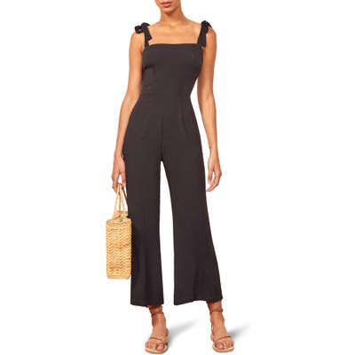 Reformation Fay Sleeveless Tie Shoulder Jumpsuit, Black