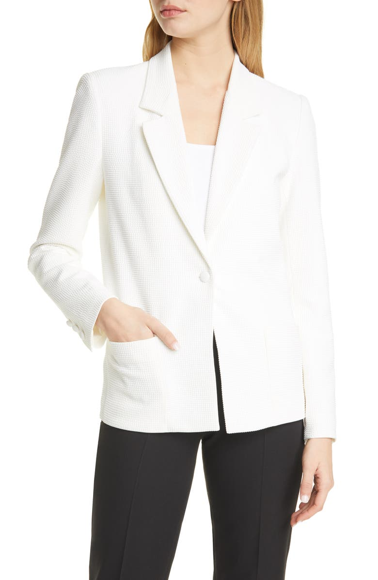 RTA Denim Sasha Studded Blazer, Main, color, WHITE STONE