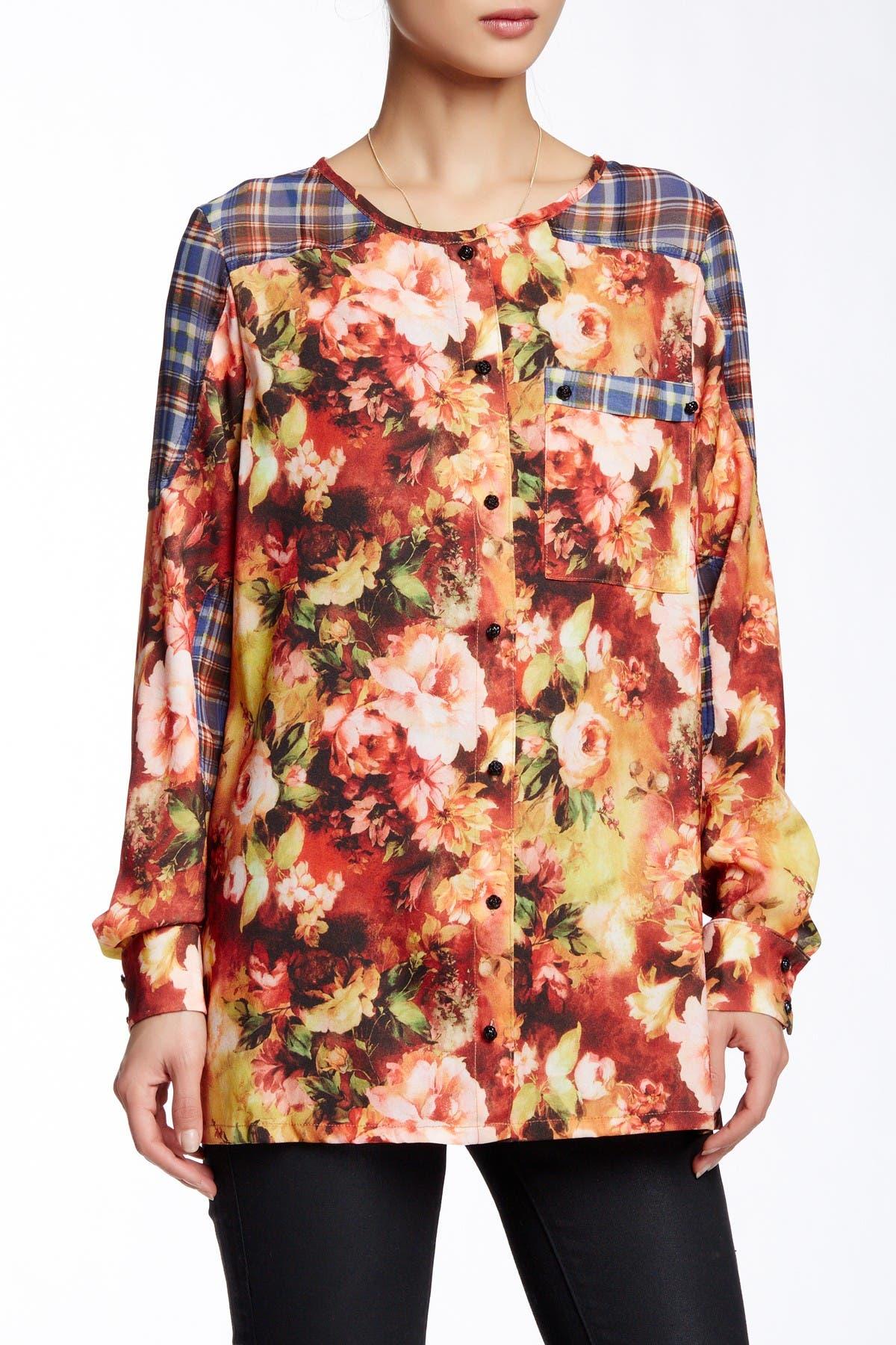 Image of TOV Plaid Floral Print Tunic