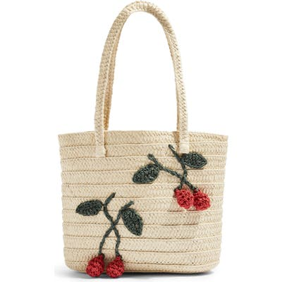 Topshop Fruity Cherry Straw Tote Bag - Beige