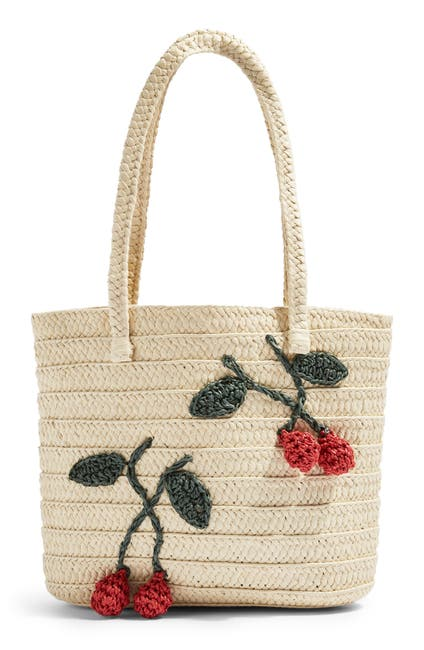 Image of TOPSHOP Fruity Cherry Straw Tote Bag
