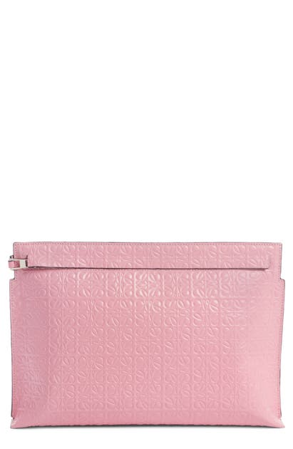 Loewe Accessories REPEAT LOGO ANAGRAM CALFSKIN LEATHER T POUCH - PINK